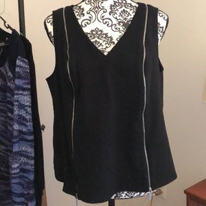 Lane Bryant black sleeveless top with zippers